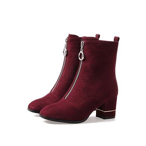 Suede Boots Womens Zipper Claret BalaMasa Heels Chunky Toe Round gxF6Twq
