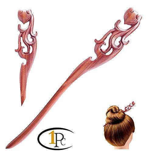 FINGER LOVE Handmade Carved Wood Hair Stick Fairy Fox Ebony [Gift Box Set] (Rosewood)