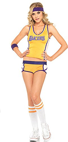 BeautyXTP Women Sexy Athletic Cheerleader Costume Uniform 3 Piece Outfit Set (Yellow) (Sexy Cheerleaders Costume)