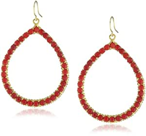 Yochi Siam-Colored Crystal Embellished 14k Gold-Plated Hoop Earrings