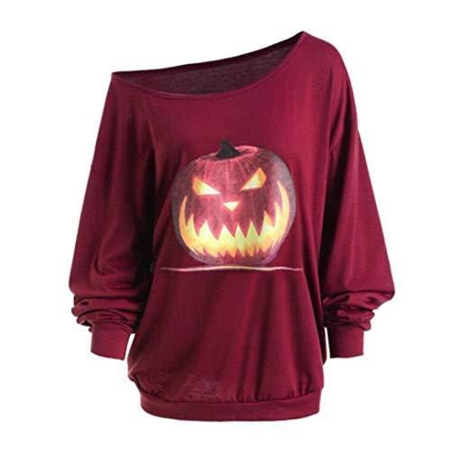 BETTERUU Women Plus Size Long Sleeve Halloween Angry Pumpkin Skew Neck Tee Blouse Tops(Wine, -