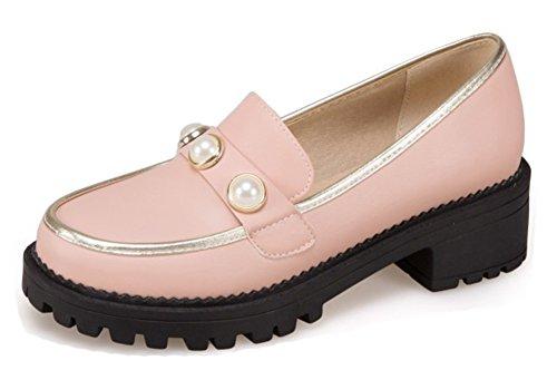 Low Pink Cut Heel Dressy Block Womens On Beaded Round Aisun Shoes Pumps Loafers Mid Slip Platform Toe H4xn5wqna
