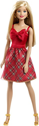 Barbie Holiday Surprise Dress Doll with Plaid Skirt and Red Bow - 11.5 Inches Tall ()