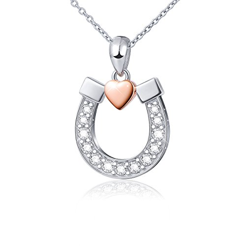 "Sterling Silver Lucky Horseshoe with Rose Gold Love Heart Star Pendant Necklace, Rolo Chain 18"" (Horseshoe with Rose Gold Heart)"