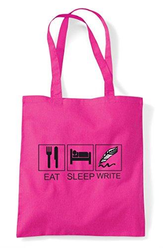 Tote Fuschia Write Bag Tiles Shopper Activity Eat Hobby Sleep Funny AqY1zwv