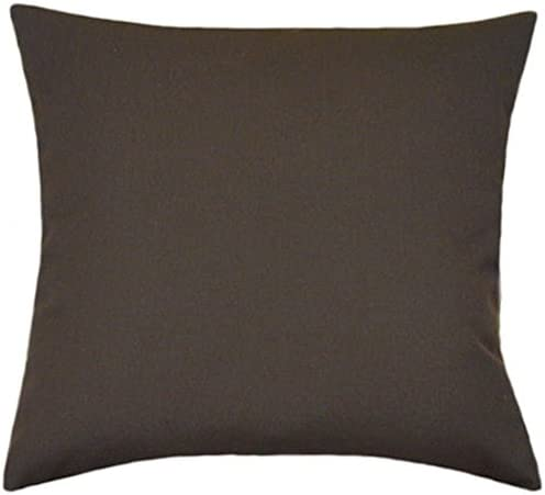 TPO Design Sunbrella Bay Brown Indoor Outdoor Solid Patio Pillow 18×18