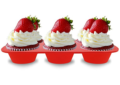 Elbee Home 621 Premium 6 Cupcake Muffin Baking Pan Mold Easy Clean Red by Elbee (Image #3)