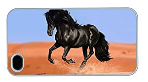 Hipster fashion iPhone 4S covers black horse art PC White for Apple iPhone 4/4S