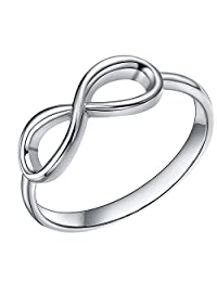 925 Sterling Silver Infinity Ring High Polish Simple Forever Love Women Wedding Band 4-11