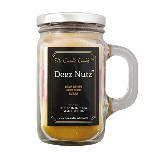 Deez Nutz- Banana Nut Bread - Toasted Coconut - Hazelnut Scented Triple Layer Candle-by the Candle Daddy-  Soy Wax Blend- Mason Jar- 10.5 Ounce - 80 Hour Burn Time- Poured In Small Batches in USA