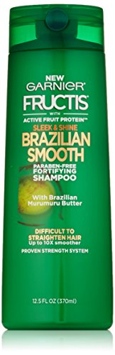 Garnier Fructis Sleek & Shine Brazilian Smooth Shampoo, Difficult to Straighten Hair, 12.5 fl. oz.