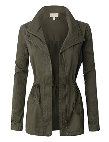 LE3NO Womens Military Anorak Jacket With Drawstring Waist