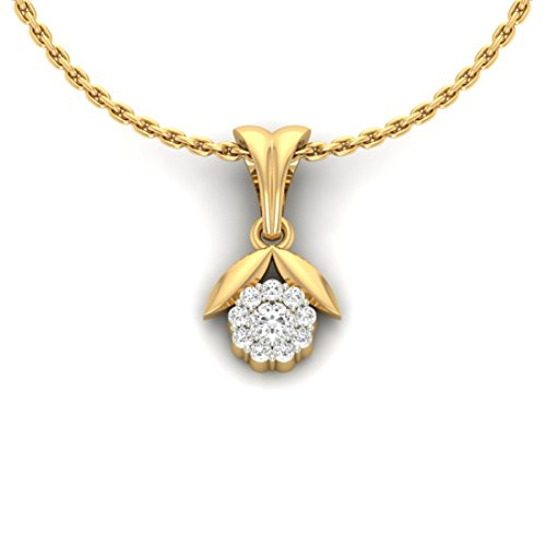 18 K Or jaune 0,21 CT TW Round-cut-diamond (IJ | SI) diamant Pendentif