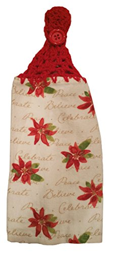 Handcrafted Cherry Red Crochet Topped Flowers and Meanings Towel