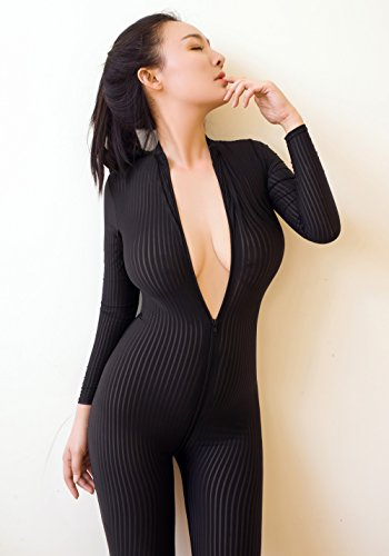 Open Bodystocking (yuchang New Open Crotch Black Striped Sheer Bodystocking Bodysuit Sexy Lingerie For Women Smooth Fiber Double Zipper Long Sleeves (Black))