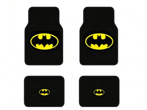 (Officially Licensed Universal Fit Front and Rear Logo Carpet Floor Mats - Batman Classic Logo)