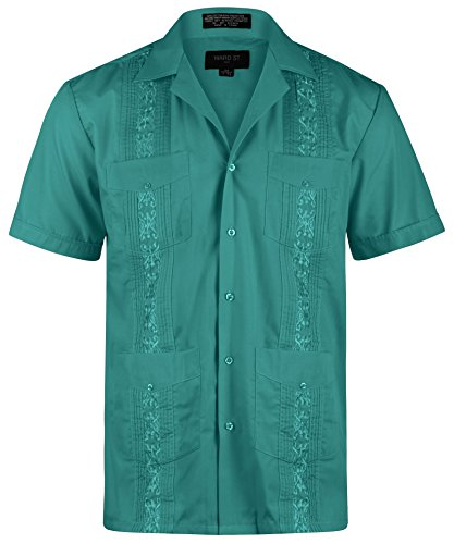 Ward St Men's Short Sleeve Cuban Guayabera, XL, 17-17.5N, Teal ()