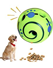 Pet Giggle Ball Toy Material Upgraded, Dog Treat Ball, Interactive Dog Soccer Toys Puzzle Food Dispenser, Wobble Giggle Dog Ball IQ Train Play for Puppy, Small, Medium, Large Dogs Favorite Gift Green