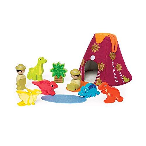 Manhattan Toy Jurassic Adventure 10-Piece Wooden Toddler Figure and Playset