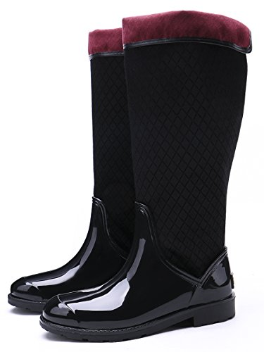 Tongpu Womens Patchwork Pluie Chaussures Midcalf Chaussons De Neige Noir