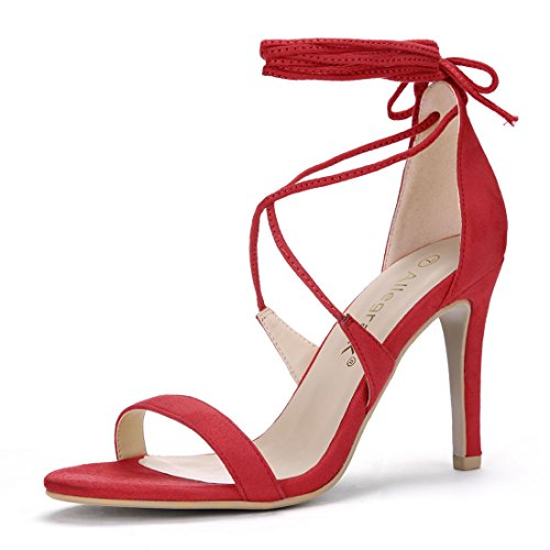 Allegra K Womens Stiletto Heel Lace-Up Sandals Red G4twM