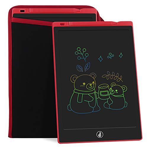 11-Inch LCD Writing Tablet, Electronic Colorful Screen Drawing Erase Board Doodle Board Writing Pad Gifts for Toddlers, Kids and Adults with Protective Sleeve (Red)