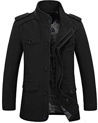 Zicac Men's Spring Fall Thin Cotton Jacket MD-Long Windbreaker Trench Coat Plus Size(US:3XL/Asia Tag 6XL, Black)