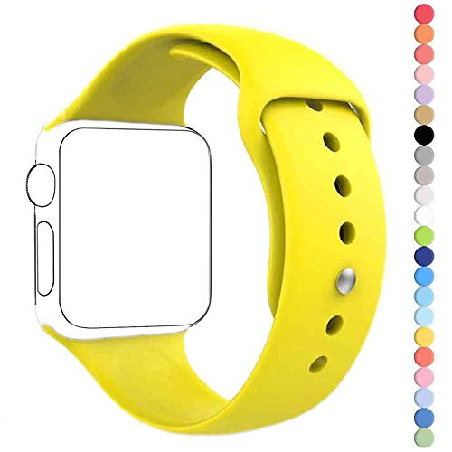 HuanlongTM New Soft Silicone Sport Style Replacement Iwatch Strap Band for Apple Wrist Watch Series 1 Series 2 (Yellow 38mm M/L)