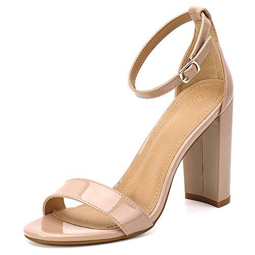 Moda Chics Women's High Chunky Block Heel Pump Dress Sandals Nude Patent PU 8 D(M) US