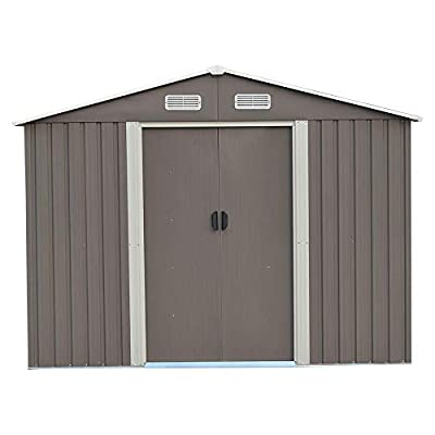 DOIT Outdoor Metal Steel Low Gable Storage Shed With Floor Frame Foundation Gray Tool Utility For Garden Backyard Lawn
