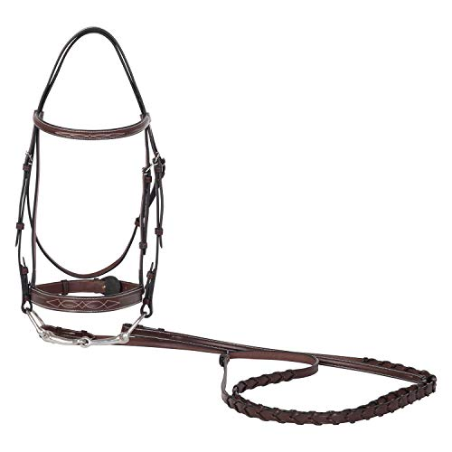 Huntley Equestrian Fancy Stitched Sedgwick Leather Bridle with Reins (Australian Nut, Full/Horse)