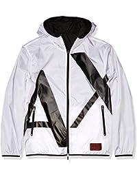 Men's Reversable Logo Zip Up Hooded Windbreaker Jacket