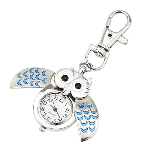 FAPIZI Wristwatch Gift Key Ring Watch Fashion Gorgeous Owl Watch Clip Pocket Keychain (Blue)