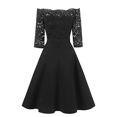 kaifongfu Women Dress,New Vintage Lace Patchwork Off Shoulder Cocktail Party Retro Swing Dress (XL, Black)