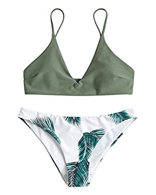 ZAFUL Women's Tropical Leaf Print Adjustable Strap Two Piece Bikini Set Swimsuits