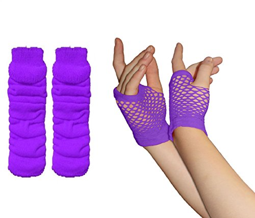 Adults Short & Long Fingerless Fishnet Gloves & Leg Warmer Set raves Parties 1980s Fancy Dress - Pick & Mix (Leg Warmer & Small Fishnet Gloves - Purple) -
