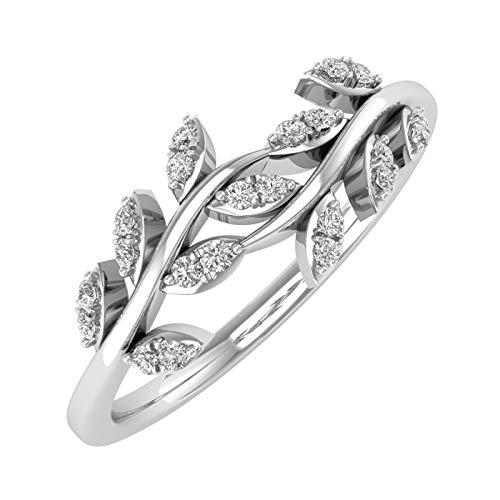 10K White Gold Diamond Nature Wedding Band (0.15 Carat) - IGI Certified (Ring Size ()