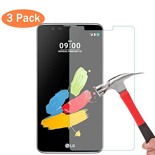 [3 Pack] LG Stylo 2 Tempered Glass Screen Protector, Supershieldz Anti-Scratch, Anti-Fingerprint, Bubble Free, High Definition (HD) Touch screen 0.3mm 2.5D for LG Stylus 2 LS775 - Touch 2 Stylus