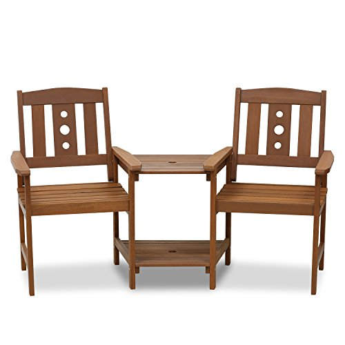 Furinno FG17488 Tioman Outdoor Hardwood Patio Furniture Jack and Jill Chair Set in Teak Oil, Natural (Garden Hardwood Furniture)