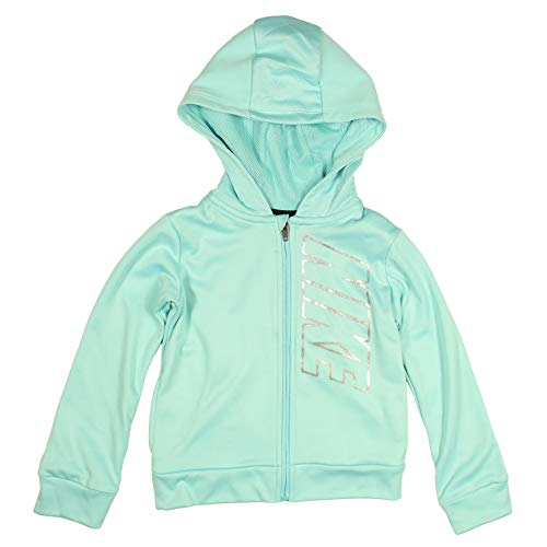 (Nike Girls' Full Zip Dri-FIt Therma Hoodie (Light Aqua, 6))
