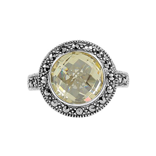 - Aura 925 Sterling Silver Ring Canary Cz, Marcasite #7