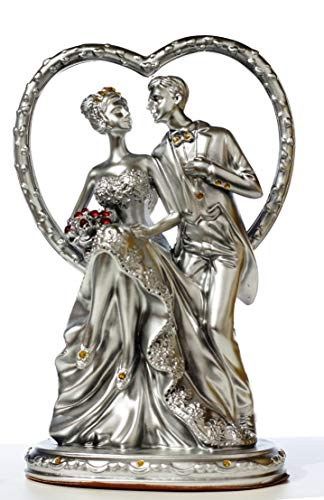 Ethnic Choice Romantic Couple Statue with Bouquet in Heart Showpiece Gift for Anniversary, Birthday, Valentine and Home DécorBy