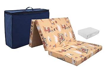 Baby Reisematratze aus hochwertigem Kaltschaum Frottee Bettlaken weiß 60 x 120