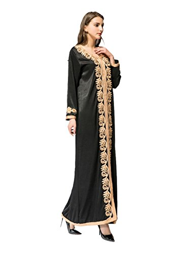 Gladthink V Abaya Elegante Lunghezza Vestito Lungo Sciolto Nero Donne Collo Musulmano Pieno Maniche SZSrTq