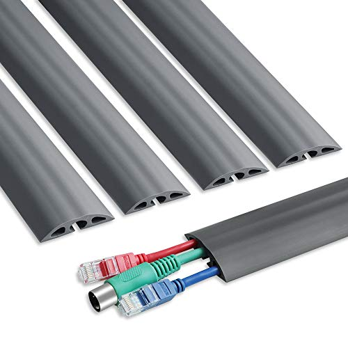 6.5 feet Floor Cable Cover - Straight Cord Protector - Durable Low Profile PVC Duct - Flexible 3 Channel Wire Cover in Workshop, Concerts, Office Home Doorway, 5X L15.6in W2in H0.5in, Grey