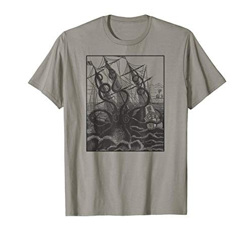 (Giant Octopus attacks Pirate Ship Graphic Shirt)