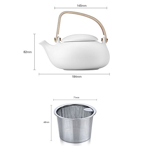 ZENS White Matte Finish Tea Set Smooth texture Ceramic Teapot ,800ml/28oz with Nature Bentwood Handle, Two Double wall Teacups & 2 Rattan Coasters ,Stainless Steel Strainer for Flower Loose Tea