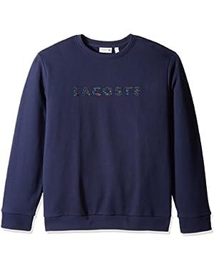 Men's Crewneck 3d Lacoste Logo Print Fleece Sweater