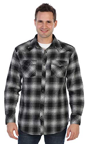 Gioberti Men's Long Sleeve Western Flannel Shirt w/Snap Button, Black/White, X-Large