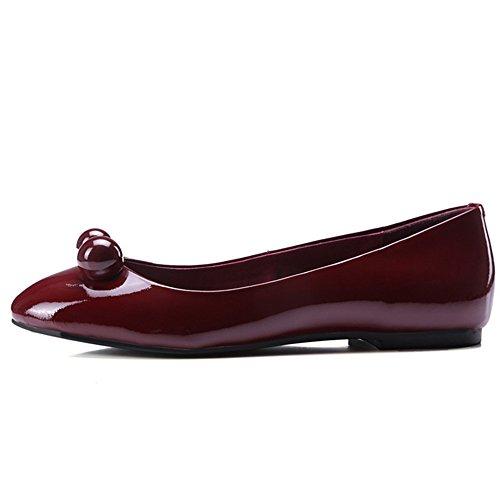 Seven Dressy Women's Round Ballet Toe Flats Patent Adorable Handmade Wine Comfortable Leather Nine pdvwZtqp